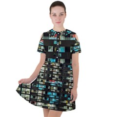 Architectural Design Architecture Building Cityscape Short Sleeve Shoulder Cut Out Dress