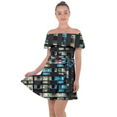 Architectural Design Architecture Building Cityscape Off Shoulder Velour Dress