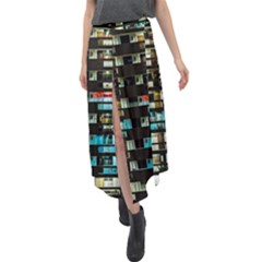 Architectural Design Architecture Building Cityscape Velour Split Maxi Skirt