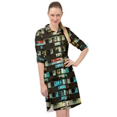 Architectural Design Architecture Building Cityscape Long Sleeve Mini Shirt Dress