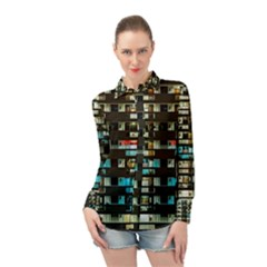 Architectural Design Architecture Building Cityscape Long Sleeve Chiffon Shirt