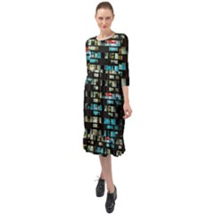 Architectural Design Architecture Building Cityscape Ruffle End Midi Chiffon Dress