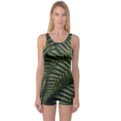 Green Leaves Photo One Piece Boyleg Swimsuit