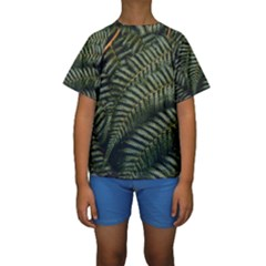 Green Leaves Photo Kids  Short Sleeve Swimwear