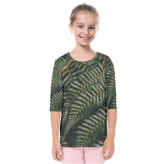 Green Leaves Photo Kids  Quarter Sleeve Raglan Tee