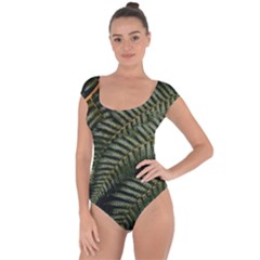 Green Leaves Photo Short Sleeve Leotard
