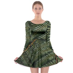 Green Leaves Photo Long Sleeve Skater Dress