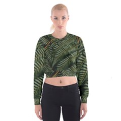 Green Leaves Photo Cropped Sweatshirt