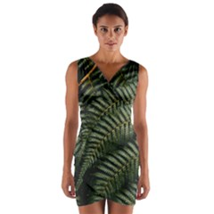 Green Leaves Photo Wrap Front Bodycon Dress