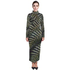 Green Leaves Photo Turtleneck Maxi Dress