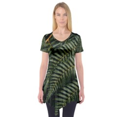 Green Leaves Photo Short Sleeve Tunic