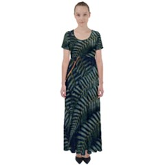 Green Leaves Photo High Waist Short Sleeve Maxi Dress
