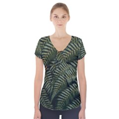 Green Leaves Photo Short Sleeve Front Detail Top