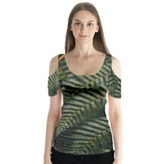 Green Leaves Photo Butterfly Sleeve Cutout Tee