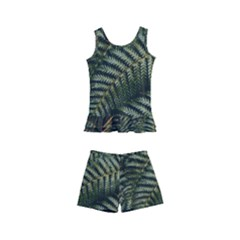 Green Leaves Photo Kids  Boyleg Swimsuit