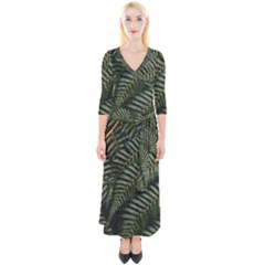 Green Leaves Photo Quarter Sleeve Wrap Maxi Dress