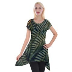Green Leaves Photo Short Sleeve Side Drop Tunic