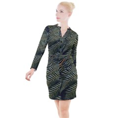 Green Leaves Photo Button Long Sleeve Dress