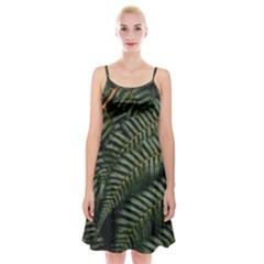 Green Leaves Photo Spaghetti Strap Velvet Dress