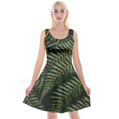 Green Leaves Photo Reversible Velvet Sleeveless Dress