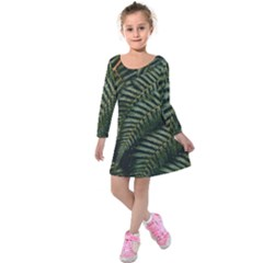 Green Leaves Photo Kids  Long Sleeve Velvet Dress