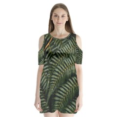 Green Leaves Photo Shoulder Cutout Velvet One Piece