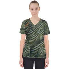 Green Leaves Photo Women s V Neck Scrub Top