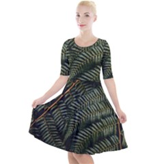 Green Leaves Photo Quarter Sleeve A Line Dress