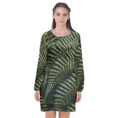 Green Leaves Photo Long Sleeve Chiffon Shift Dress