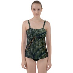 Green Leaves Photo Twist Front Tankini Set