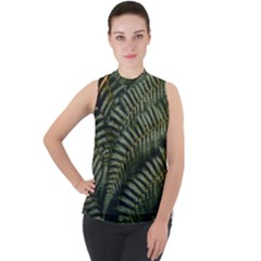 Green Leaves Photo Mock Neck Chiffon Sleeveless Top