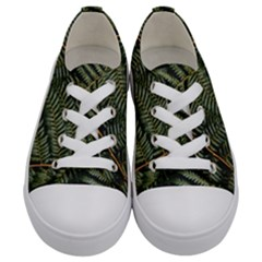 Green Leaves Photo Kids  Low Top Canvas Sneakers