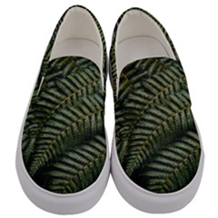 Green Leaves Photo Men s Canvas Slip Ons