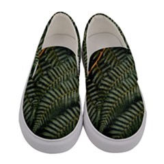 Green Leaves Photo Women s Canvas Slip Ons