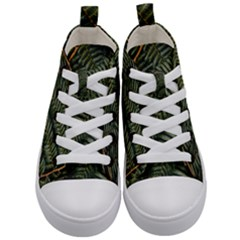 Green Leaves Photo Kids  Mid Top Canvas Sneakers