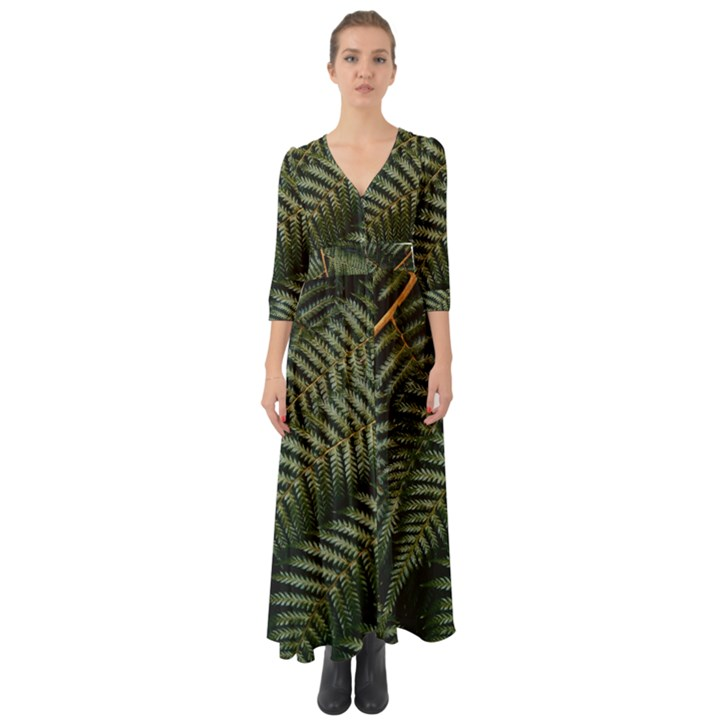 Green Leaves Photo Button Up Boho Maxi Dress