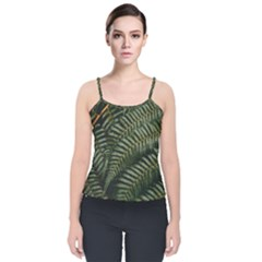 Green Leaves Photo Velvet Spaghetti Strap Top
