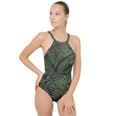 Green Leaves Photo High Neck One Piece Swimsuit