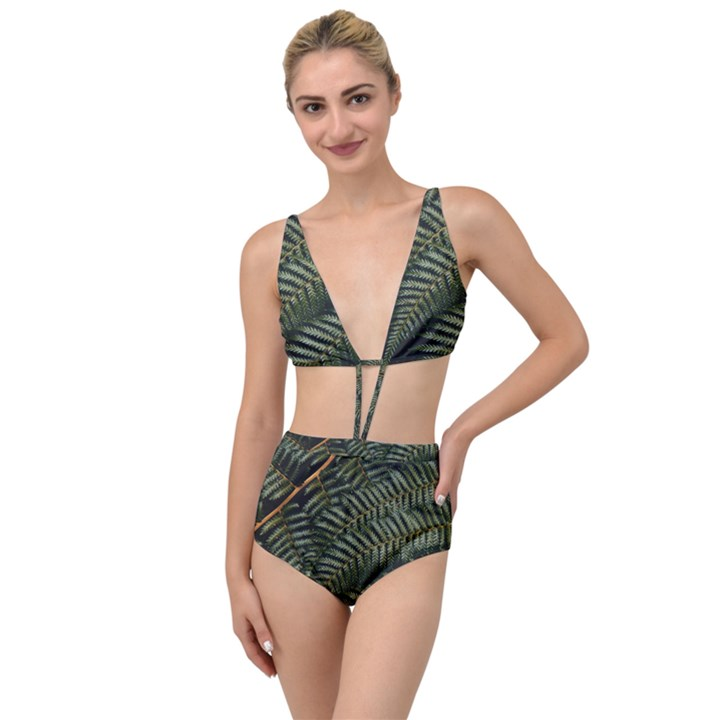 Green Leaves Photo Tied Up Two Piece Swimsuit