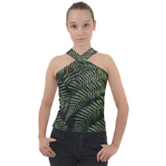 Green Leaves Photo Cross Neck Velour Top
