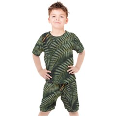 Green Leaves Photo Kids  Tee And Shorts Set