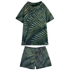 Green Leaves Photo Kids  Swim Tee And Shorts Set