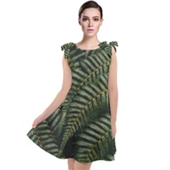 Green Leaves Photo Tie Up Tunic Dress