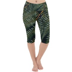 Green Leaves Photo Lightweight Velour Cropped Yoga Leggings
