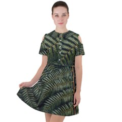 Green Leaves Photo Short Sleeve Shoulder Cut Out Dress