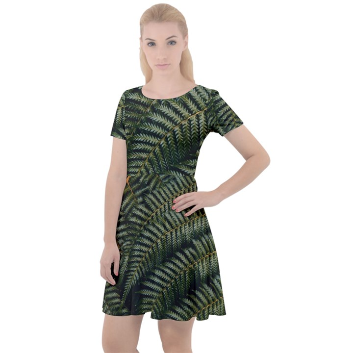 Green Leaves Photo Cap Sleeve Velour Dress