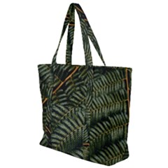 Green Leaves Photo Zip Up Canvas Bag