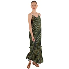 Green Leaves Photo Cami Maxi Ruffle Chiffon Dress