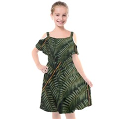Green Leaves Photo Kids  Cut Out Shoulders Chiffon Dress
