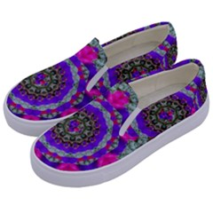 Floral To Be Happy Of In Soul Kids  Canvas Slip Ons by pepitasart
